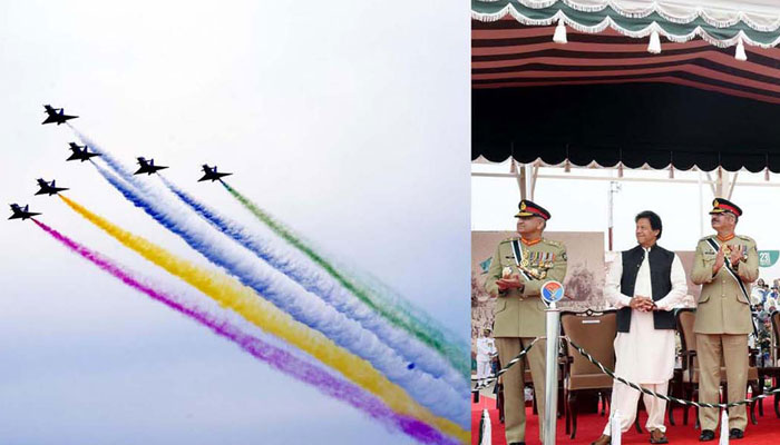یوم پاکستان پر اتحاد و طاقت کا مظاہرہ، لڑاکا طیاروں، میزائلوں، ٹینکوں، دیگر جنگی سامان کی نمائش