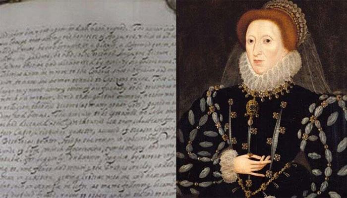 ملکہ الزبتھ اول کے ہاتھ کا لکھا مسودہ دریافت