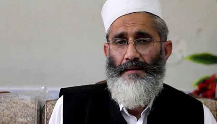 کراچی، سراج الحق نے اسپتال میں زیرعلاج منورحسن کی عیادت کی