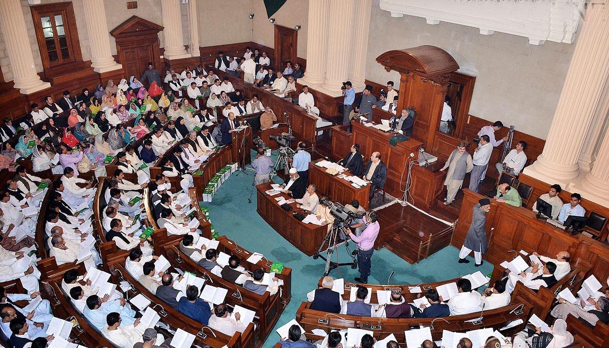 پنجاب اسمبلی، پٹرولیم قیمتوں میں اضافہ پر اپوزیشن کا شدید احتجاج، پلے کارڈز لہرادیئے