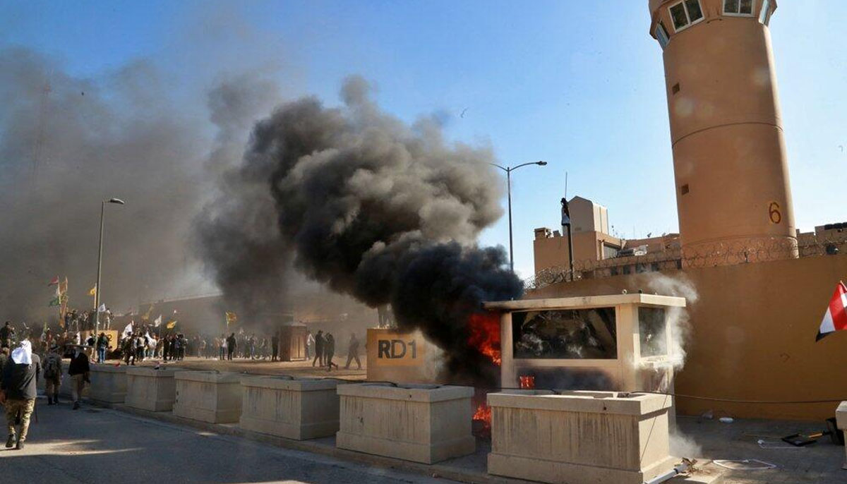 عراق ،بغداد میں امریکی سفارت خانے پر پھر میزائل حملے