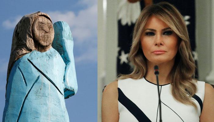 سلووینیا میں ملانیا ٹرمپ کا مجسمہ جلا دیا گیا