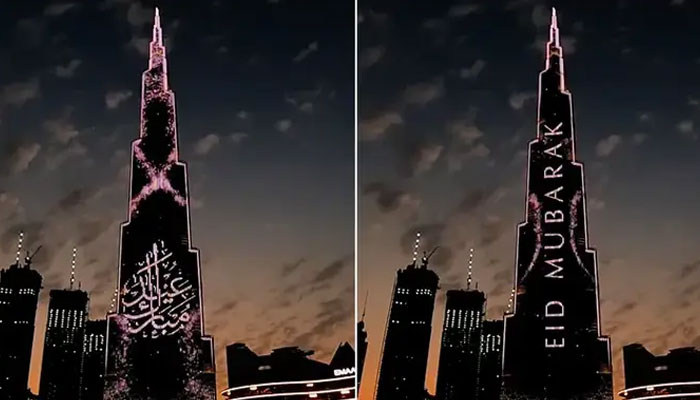 بُرج خلیفہ حج کی تکبیرات اور عید مبارک کے پیغامات سے جگمگا اُٹھا