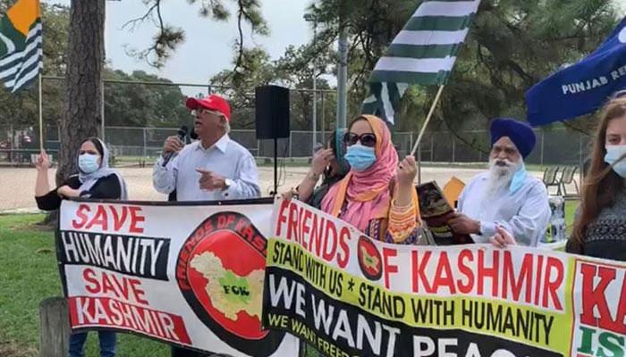 امریکا، بھارتی قونصل خانے کے سامنے کشمیریوں اور سکھوں کا احتجاج