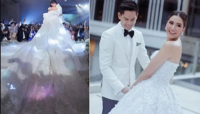 تھائی اداکارہ نے 5 میٹر لمبا عروسی گاؤن پہن کر سب کو حیران کردیا