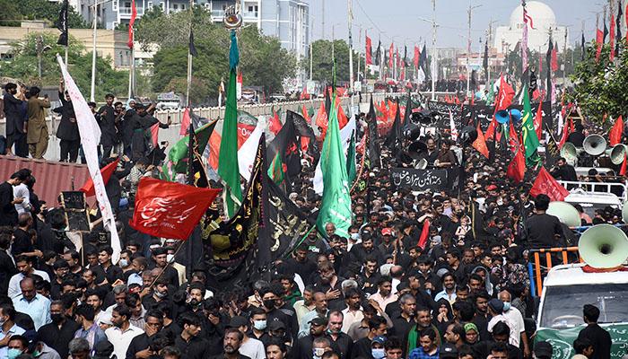 حضرت امام حسینؓ اور شہدائے کربلا کے چہلم پر جلوس، مجالس عزا منعقد کی گئیں