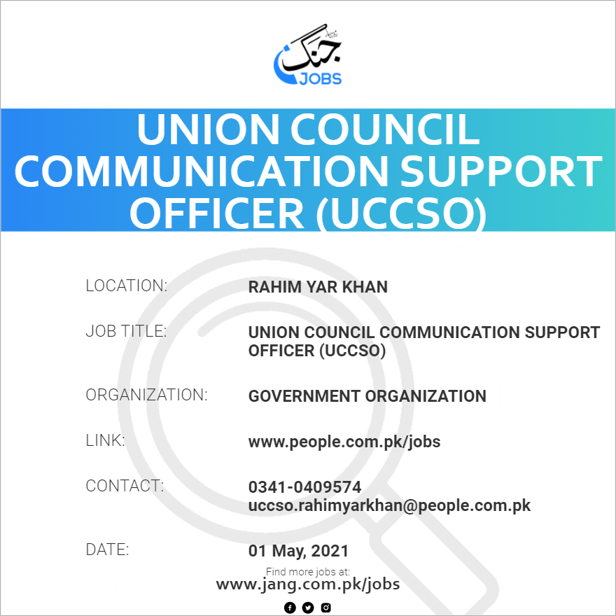 Union Council Communication Support Officer (UCCSO)