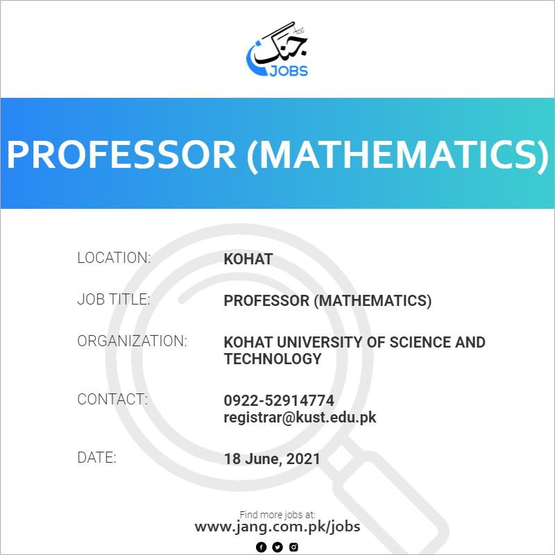 Professor (Mathematics)