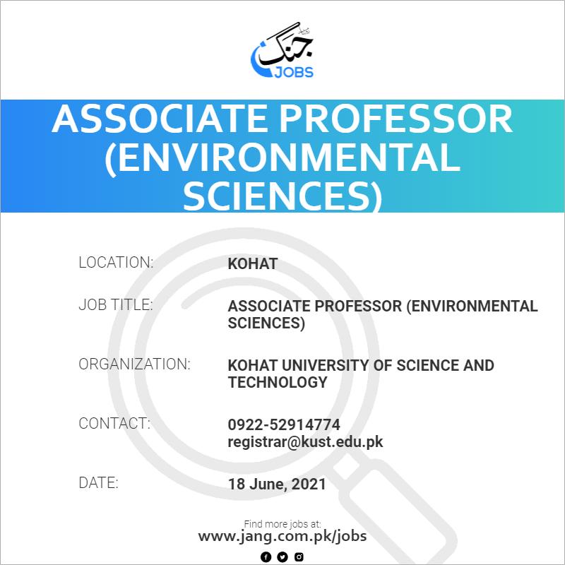 Associate Professor (Environmental Sciences)