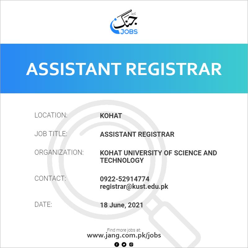 Assistant Registrar