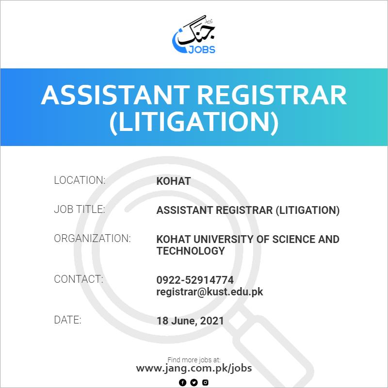 Assistant Registrar (Litigation)