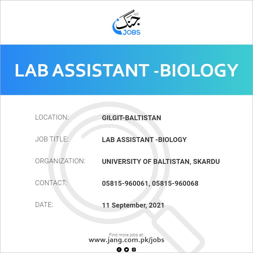 Lab Assistant -Biology