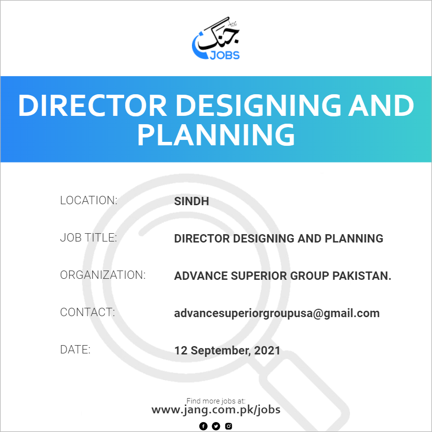 Director Designing And Planning