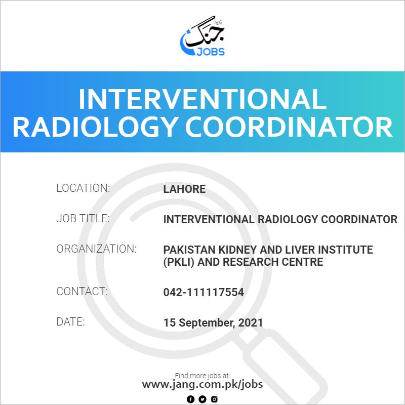 Interventional Radiology Coordinator