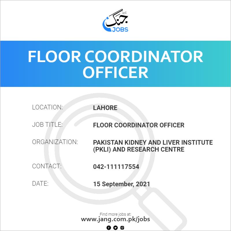 Floor Coordinator Officer