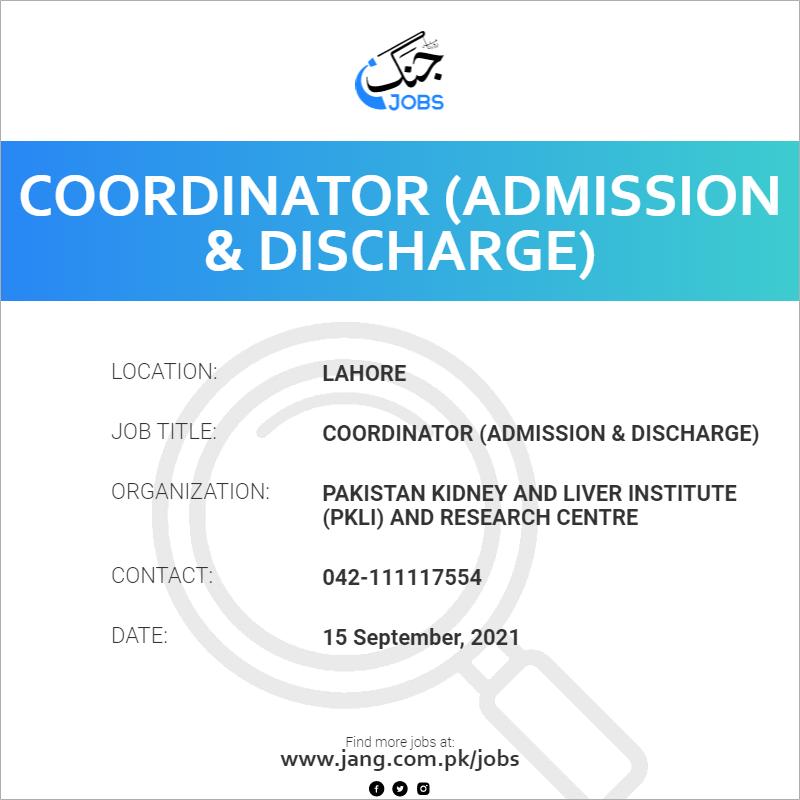 Coordinator (Admission & Discharge)