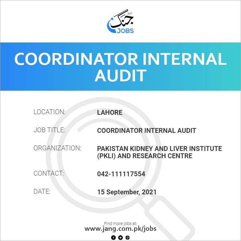 Coordinator Internal Audit
