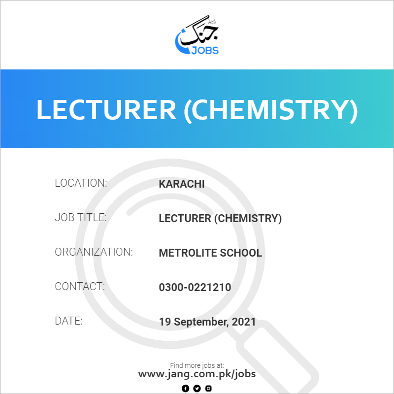 Lecturer (Chemistry)