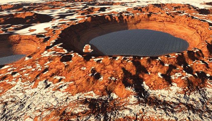 مریخ پر نمکین پانی کے ذخیرے کی دریافت