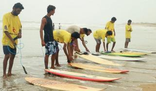 Surfing At Karachi Seaview
