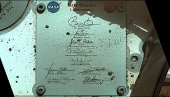 Obama Signed The Plaque Thanked Nasa Sent To Mars