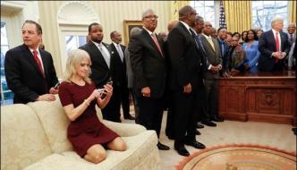 Trumps Senior Advisor Sat On Sofa With Shoes