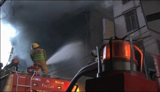 Fire Erupts In Karachi Ma Jinnah Road Building