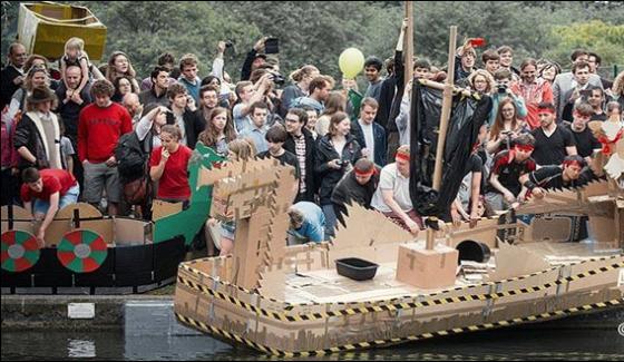 United Kingdom Holding Race Boats Made Of Cardboard