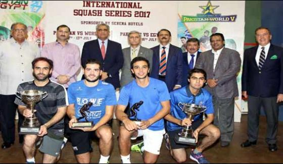 Closing Ceremony Of Pak Egypt International Squash Series 2017 At Muhsaf Ali Mir Squash Complex Islamabad