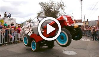 Overloaded Jeeps Perform Stunts