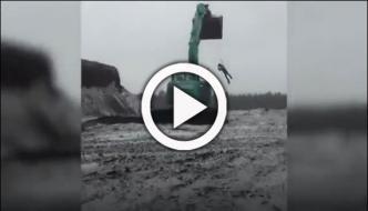 Adventurous Boy Performs Crazy Stunt With Excavator In Finland