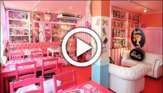 Japanese Cafe Decorated With Barbie Dolls