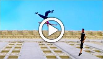 Amazing Dance On The Wall Of A Building