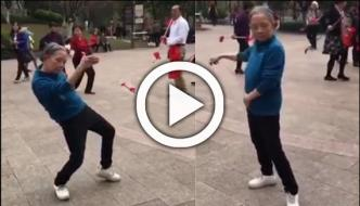Chinese Old Woman Dances
