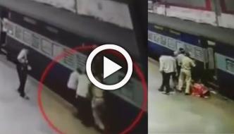 Mumbai Woman Nearly Fell Under Moving Train