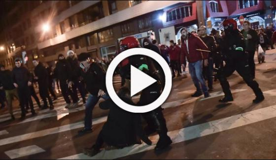 Violent Football Fans Clash With Police In Spain