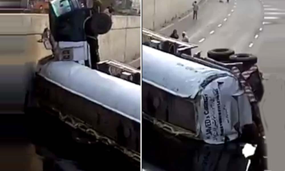 کراچی: پنجاب چورنگی انڈر پاس میں آئل ٹینکر گر گیا