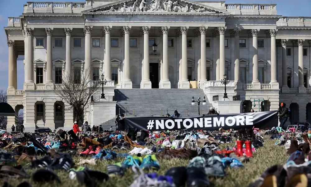 اسلحہ سے ہونے والی تباہی کا احساس دلانے کےلیے خاموش احتجاج