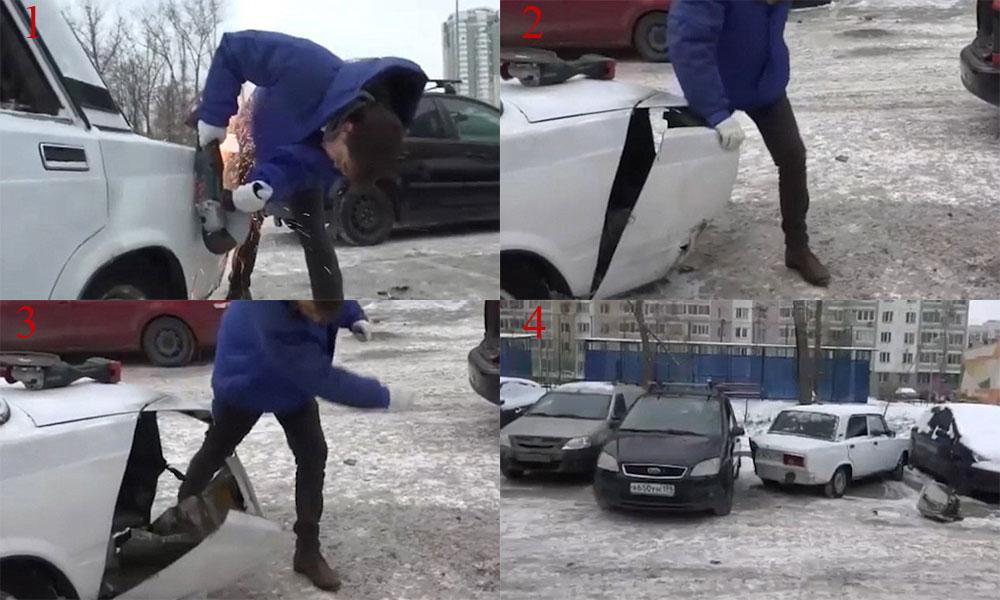 پارکنگ نہ ملنے پر روسی ڈرائیور نے دوسری گاڑی کو کاٹ دیا