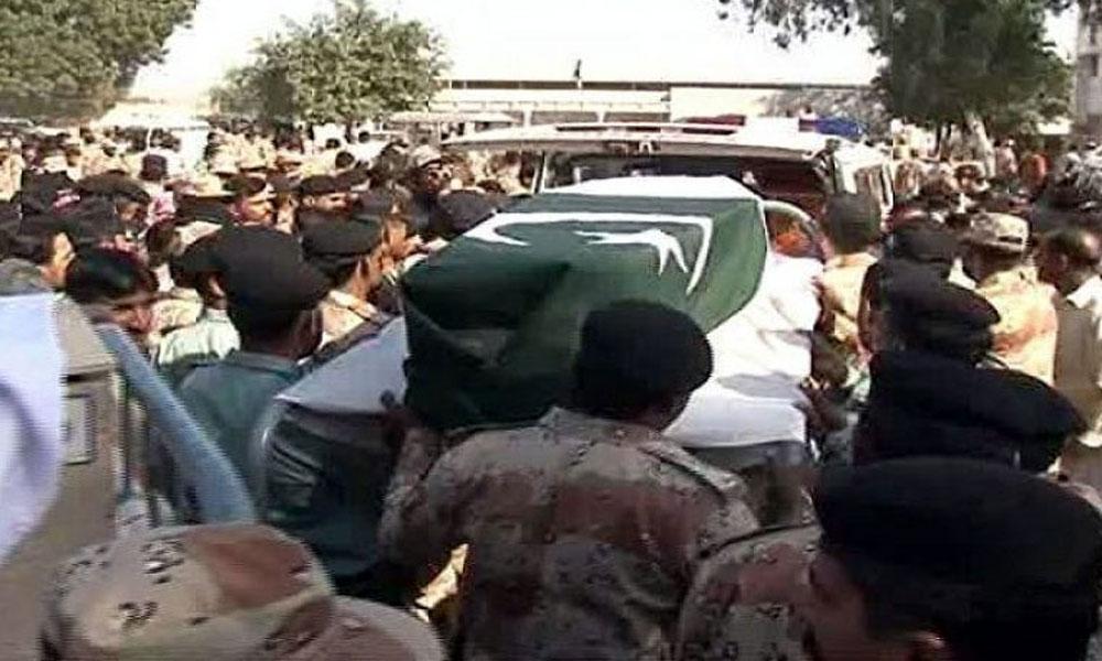 لیاری کراچی میں شہید رینجرز اہلکار کی نماز جنازہ ادا