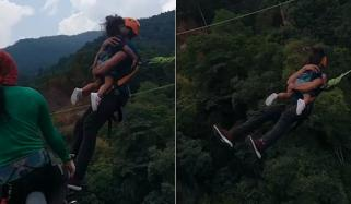 ملائیشیا:سرپھرے شخص کا اپنی بیٹی کے ساتھ بنجی جمپنگ