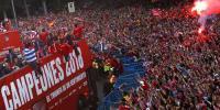 یورپا فٹ بال لیگ 2018کا ٹائٹل جیتنے والی ایٹلیٹیکوٹیم کا شاندار استقبال