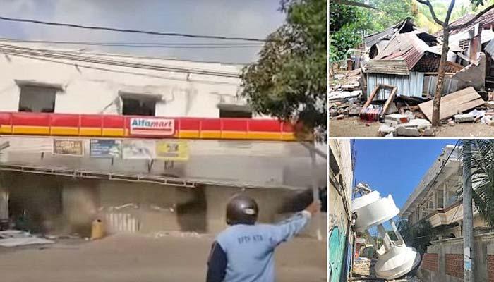 انڈونیشیامیں زلزلےسے تباہی، عمارت لمحوں میں ملبے کے ڈھیر میں تبدیل