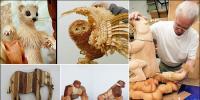 لکڑی کی تراش خراش سے تخلیق کیے گئے دیدہ زیب مجسمے