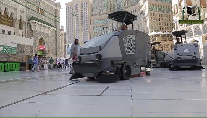 مسجد حرام کی صفائی کے لیے جدید ٹیکنالوجی کا استعمال