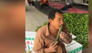 Man Uses His Teeth To Peel A Cucumber