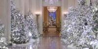 White House Building Decorated With Christmas Decorations