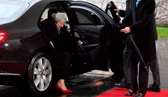 Theresa May Got Stuck In Car In Berlin