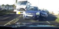 Moment Lorry Ploughs Into Vehicles