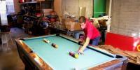 Man Impressive Pool Trickshots